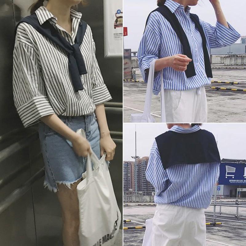 ❤灰條紋XL 有 ❤2016  寬鬆顯瘦休閒百搭條紋中袖棉麻襯衫披肩式上衣女學生