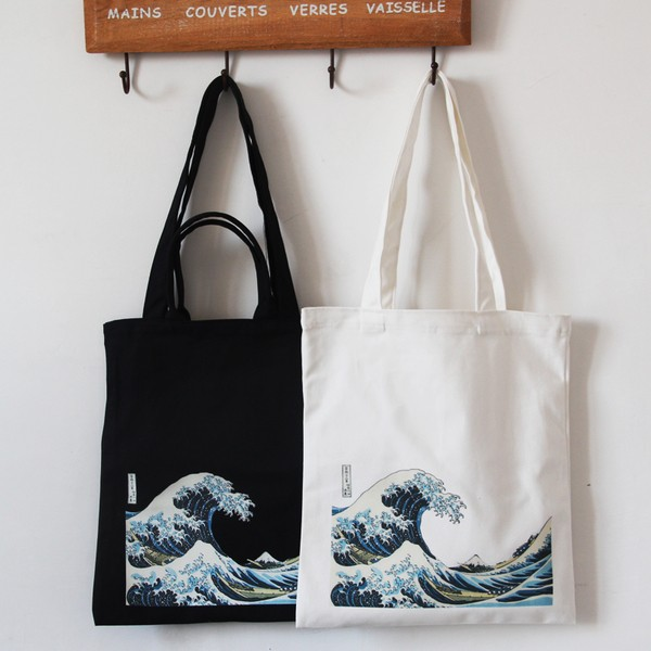 現預後實拍浮世繪文青神納川沖浪厚帆布包手提斜挎單肩環保袋
