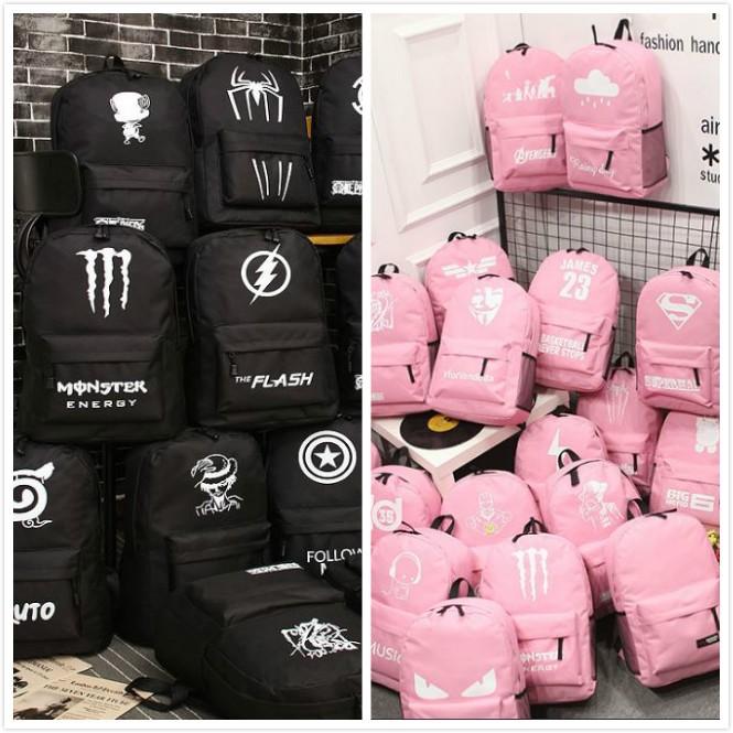 夜光雙肩包夜光書包大容量超人背包旅行包男女學院風學生書包男女學院風格黑色粉色