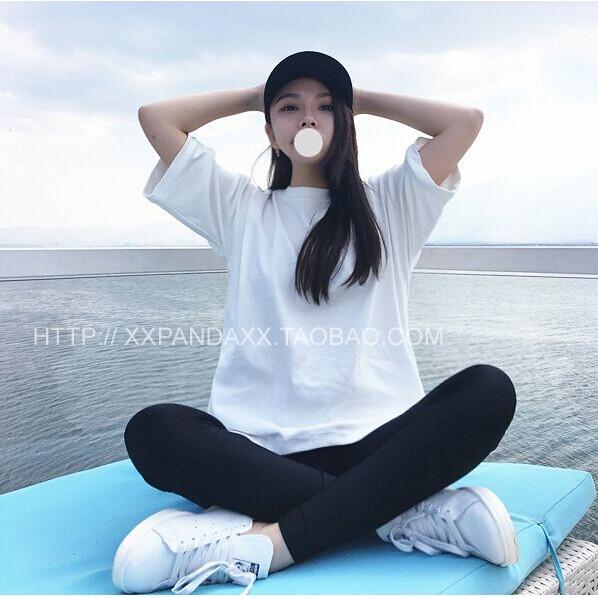 ღ7368 寬松純色T 恤女 圓領短袖學生簡約百搭棉質打底白t
