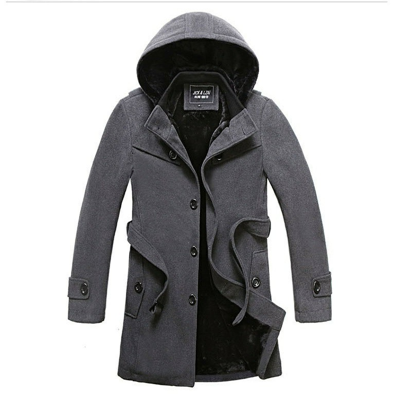 男士風衣中長款英倫修身型呢子大碼大衣加厚妮子外套