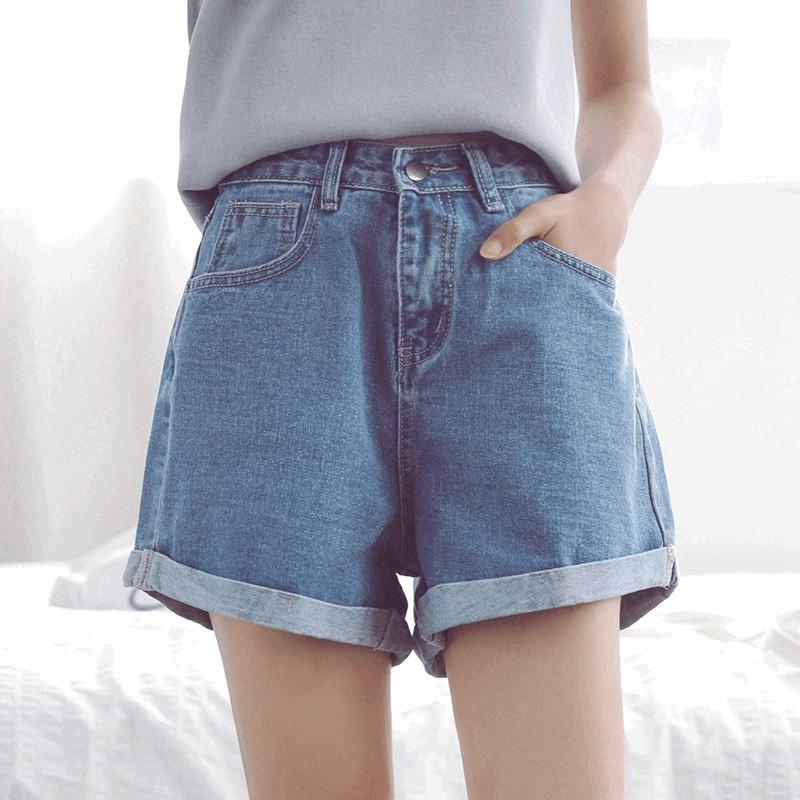 ❤ 實拍❤ 百搭破洞牛仔褲顯瘦捲邊牛仔短褲女大碼熱褲學生高腰闊腿褲丹寧牛仔刷破褲