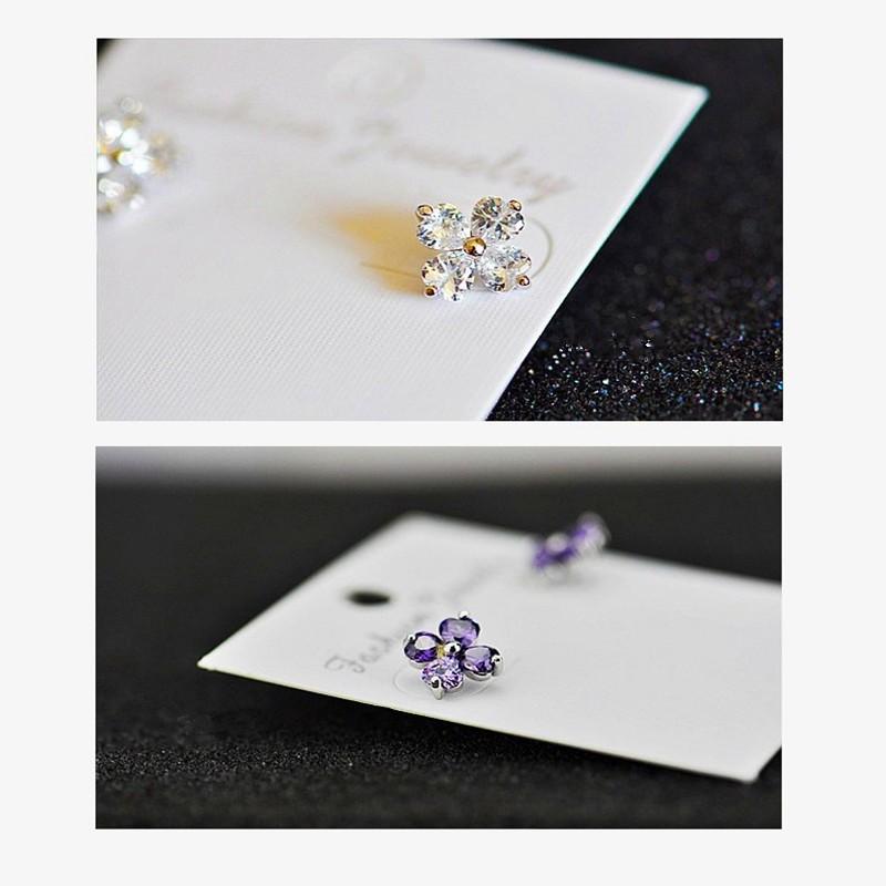 驚爆送香奈兒 套裝純銀優雅氣質韓國鑲鑽女款耳環 簡約四葉草紫水晶耳釘