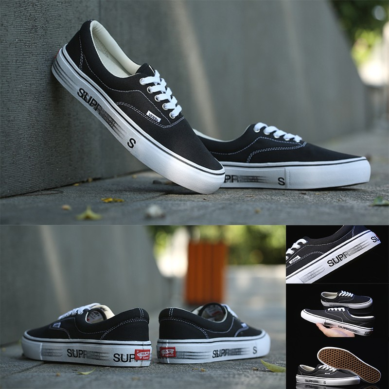 VANS supreme 聯名款幻影正品icc 鋼印黑色 滑板鞋情侶男女帆布鞋潮