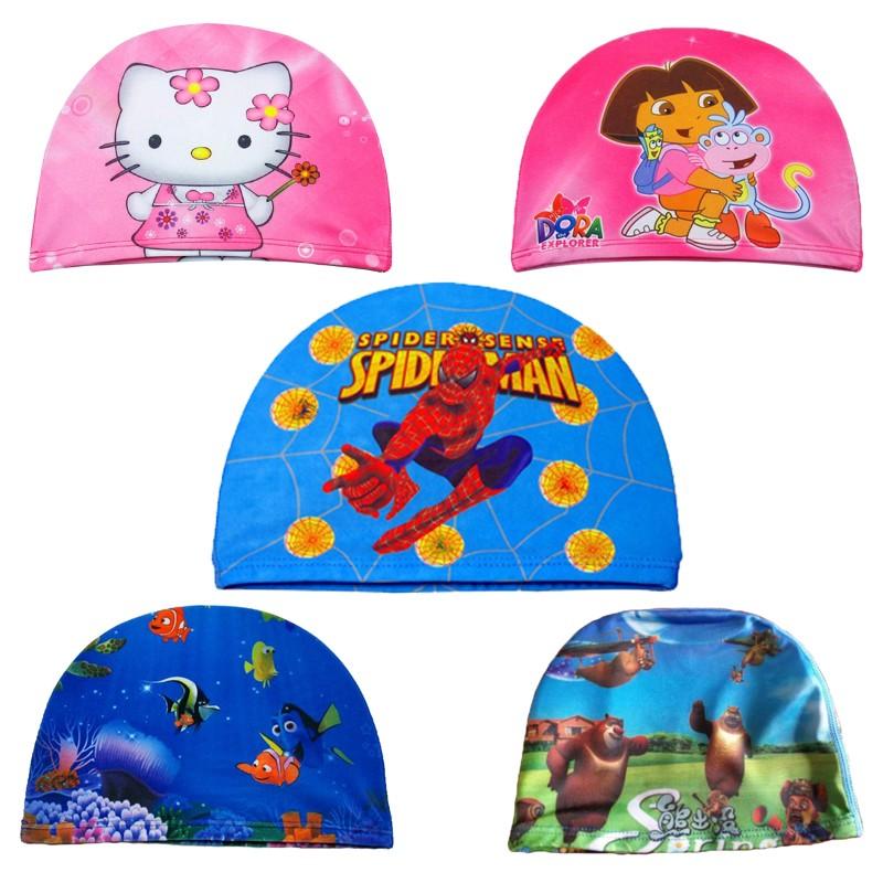 兒童泳帽朵拉卡通版小孩幼兒寶寶蜘蛛俠泳帽防水護耳舒適可愛布帽