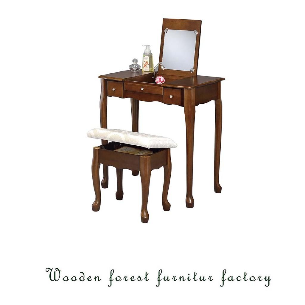 ~森林小工匠~掀蓋化妝桌椅組化妝桌椅組化妝桌化妝椅桌子椅子房間 木製 胡桃色