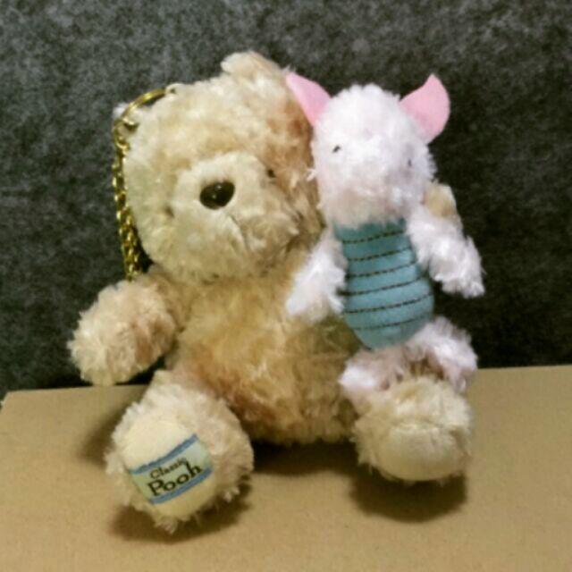 ~美國迪士尼 ~disney classic pooh 古典維尼小熊小豬金鍊吊飾娃娃玩偶布