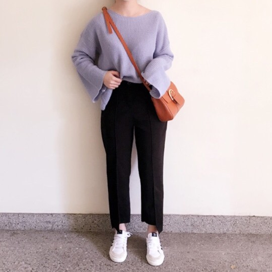 GRASS ✨ 不對稱直筒褲不對稱長褲直筒褲缺口長褲長褲顯瘦修身修飾不對稱 款實品穿搭B4