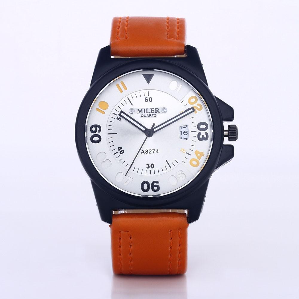 男士皮錶帶石英腕錶自動日期軍事手錶