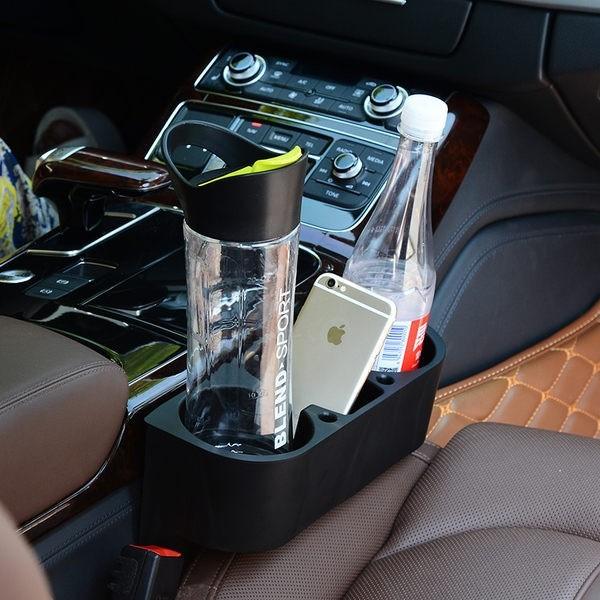 多 車用置物盒飲料架汽車椅墊夾層水杯前座三合一支架多 縫隙防漏置物盒分層收納盒飲料架多 置