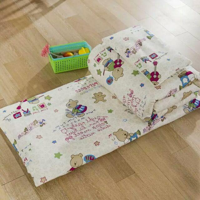 100 純棉音樂小熊兒童、嬰兒床床墊、枕頭、墊被、被子幼兒園