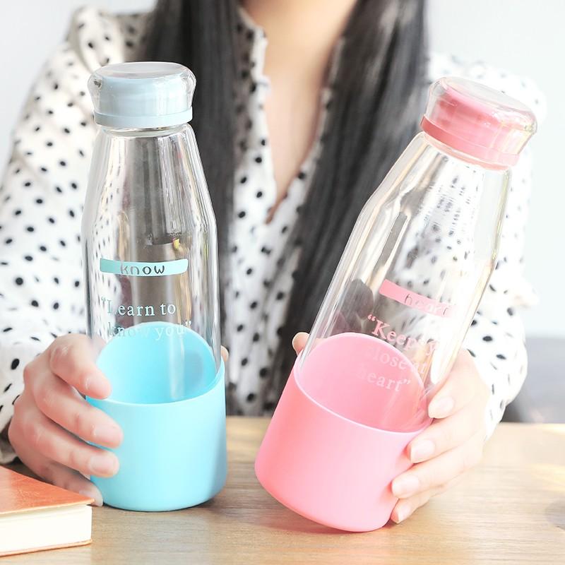 Q 糖果色透明蓋子玻璃杯底部矽膠防滑隨手杯便攜大容量防漏水杯