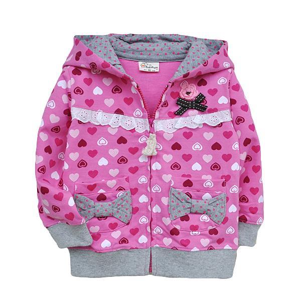 春秋款粉色愛心點點連帽外套愛心蝴蝶結口袋大衣