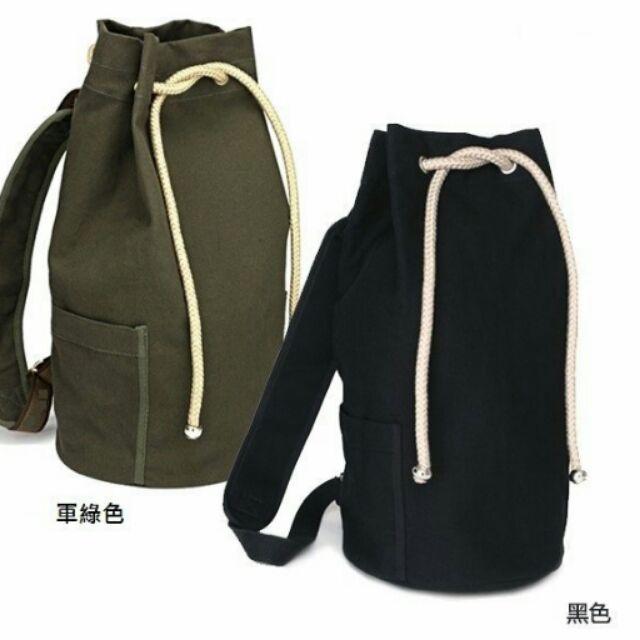 晶麗坊潮包男士 休閒包水桶包後背包帆布包水手包黑色軍綠色