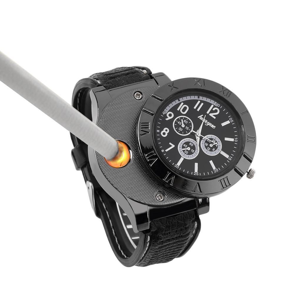 ~手錶充電USB 打火機~防風 USB 電子點煙器電子煙打火器金屬男士腕錶火機