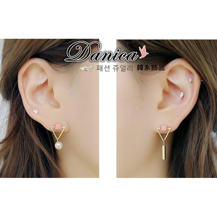 耳環 韓國氣質甜美百搭幾何不對稱三角形珍珠耳環K90798 Danica 韓系飾品韓國連線