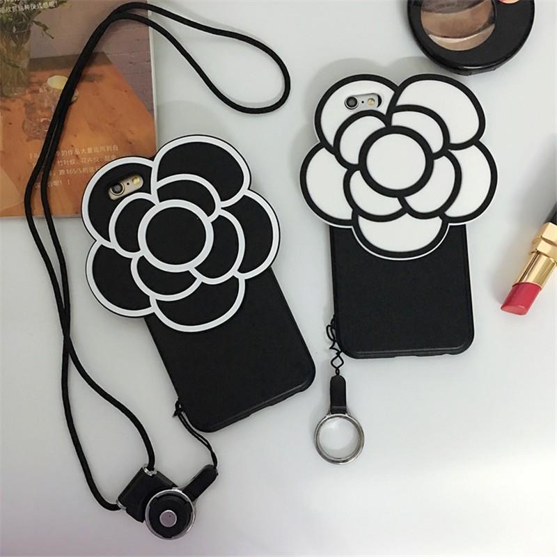 香奈兒小香風 名媛黑白山茶花蘋果自動耳機塞I6 6s 保護殼iPhone 7 plus 手