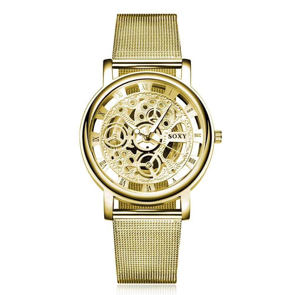 男士奢華鏤空機械表金色手錶