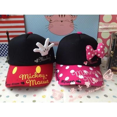 男女寶寶外貿純棉鴨舌帽子米奇米妮迪士尼棒球帽嬰兒兒童帽子