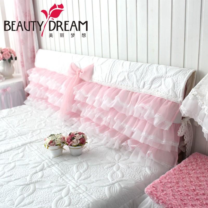 beautydream 韓式公主夢幻朦朧層層蕾絲紗白色絎縫床頭套床頭罩