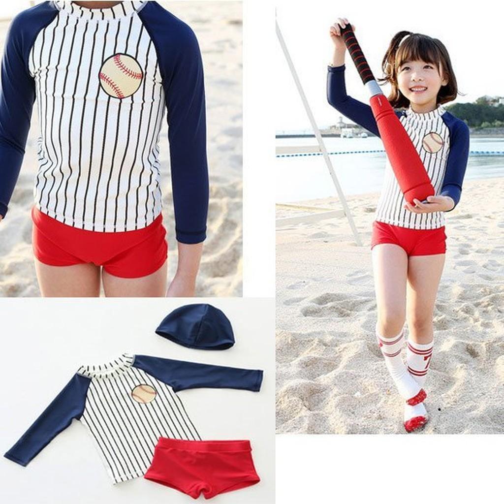 Q 媽兒童棒球條紋泳衣三件組泳衣泳褲泳帽長袖防曬 女童分體條紋色底褲