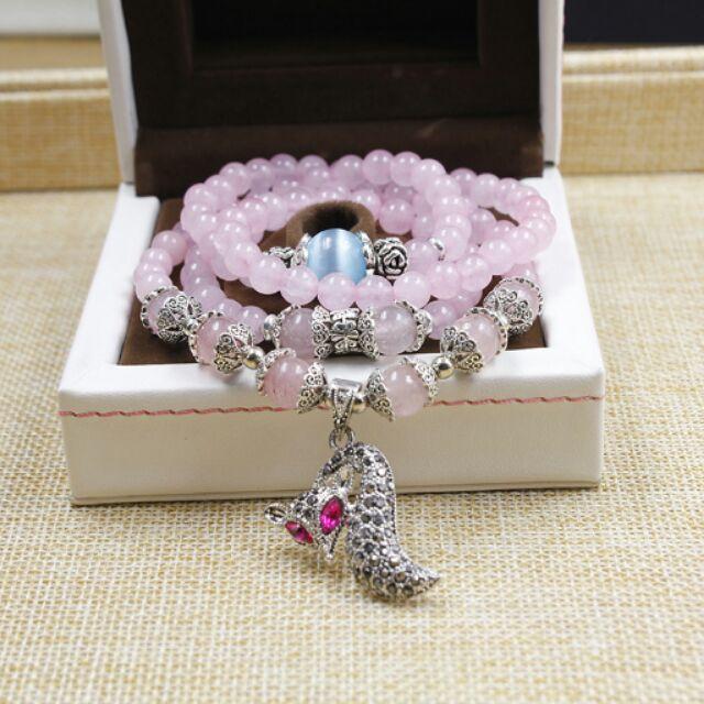 全家 韓國飾品天然粉晶手鏈水鉆小狐貍手飾辟邪轉運多層串珠水晶手鏈