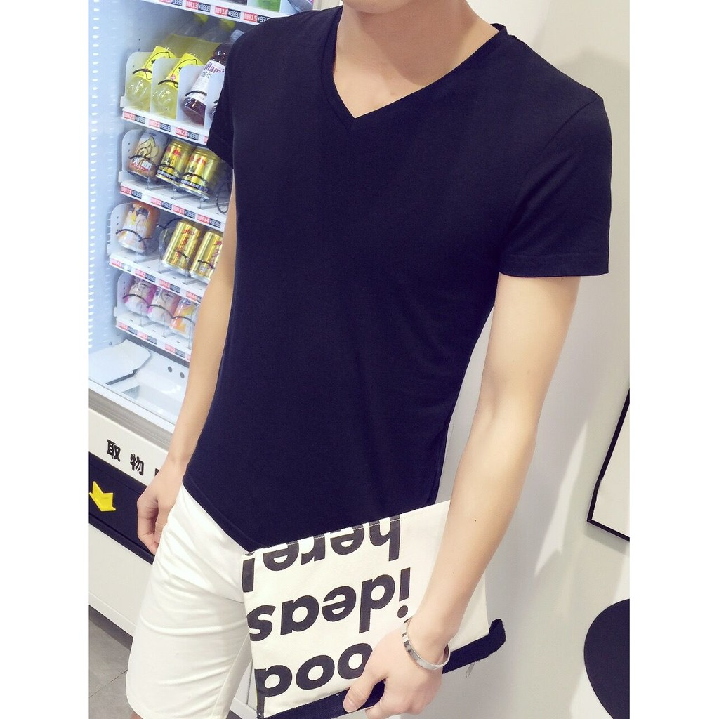 KW 純色打底衫男v 領短袖T 恤男雞心領大碼萊卡棉半袖修身 緊身衣體