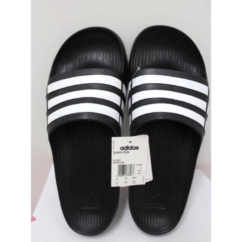 愛迪達Adidas Duramo Slide 拖鞋橡膠拖鞋止滑黑白G15890 詹姆士的店