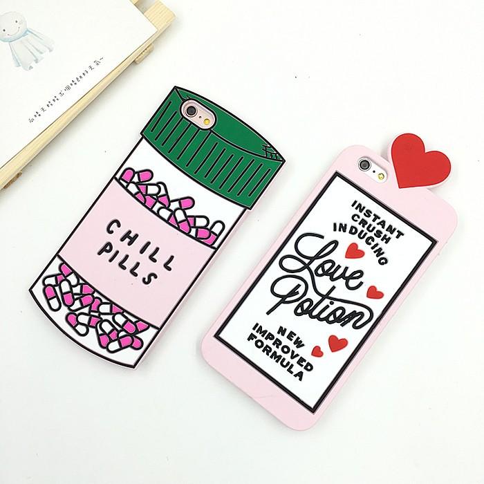 M 雜貨蘋果iphone ins 愛心字母ban do 愛情藥水矽膠軟殼5s 6s 6pl