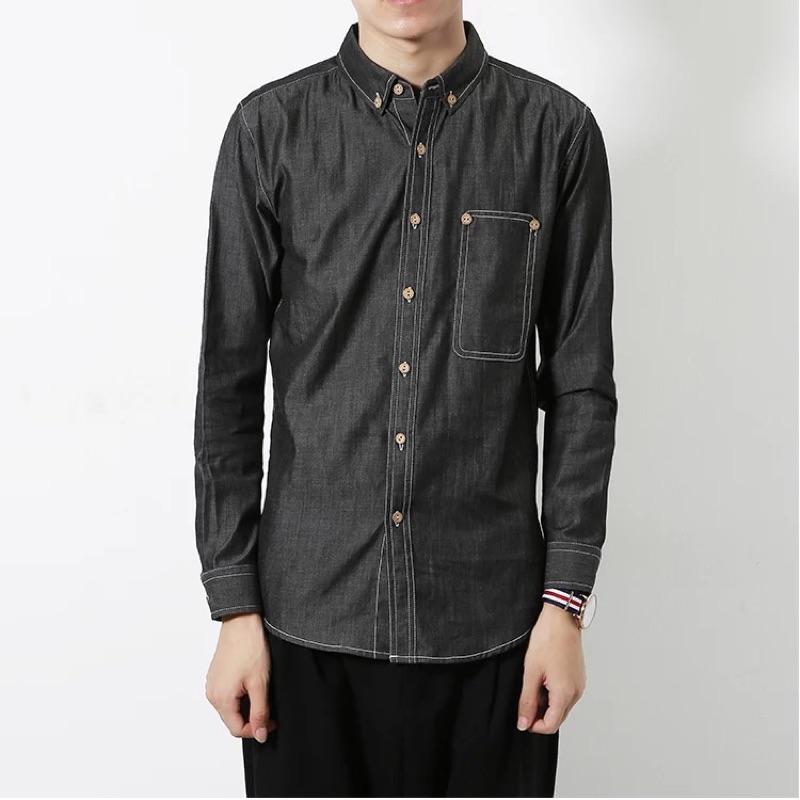 小版男裝 款牛仔色襯衫(深灰色