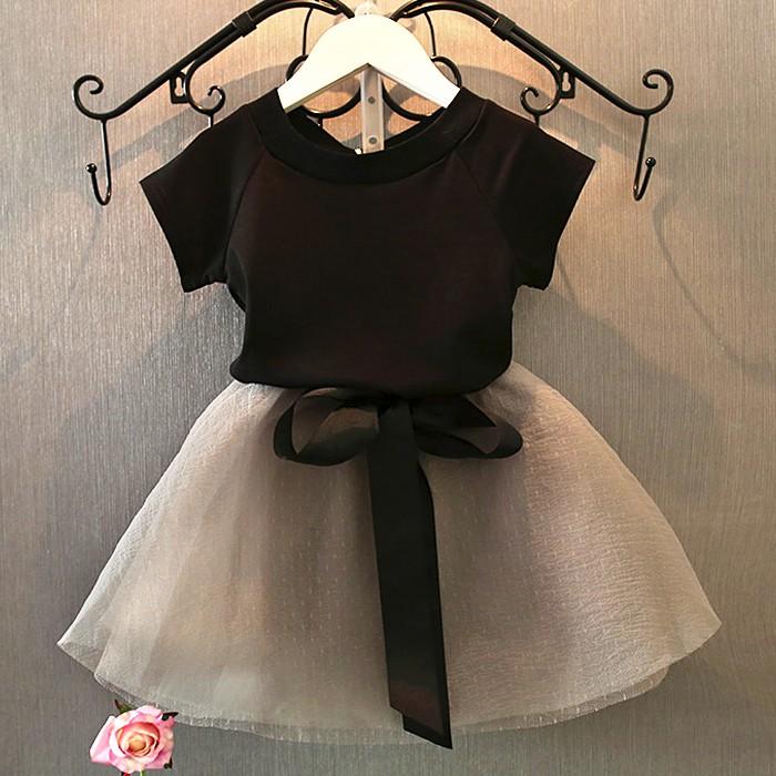 童紗裙套裝夏裝新品兒童短袖氣質t 卹半身短裙兩件套裝