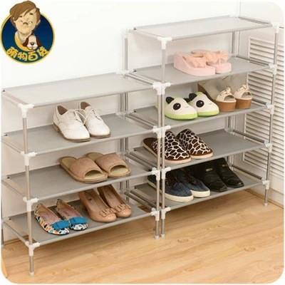 (請 宅配)不銹鋼多 收納置物架寢室鞋柜韓國多層無紡布簡易鞋架