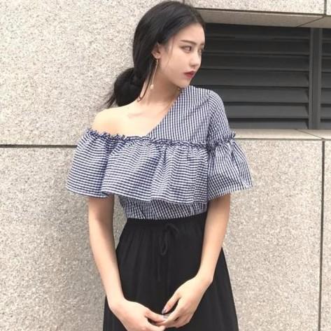 ~️ ~韓系 單肩複古荷葉邊兩穿喇叭袖上衣韓國 格子襯衣短袖襯衫