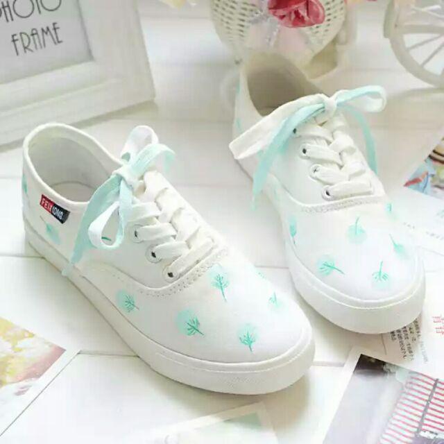C 夏日小清新 手繪風森林系女孩薄荷綠小白鞋可愛手繪圖騰鞋帆布鞋平底鞋休閒鞋款