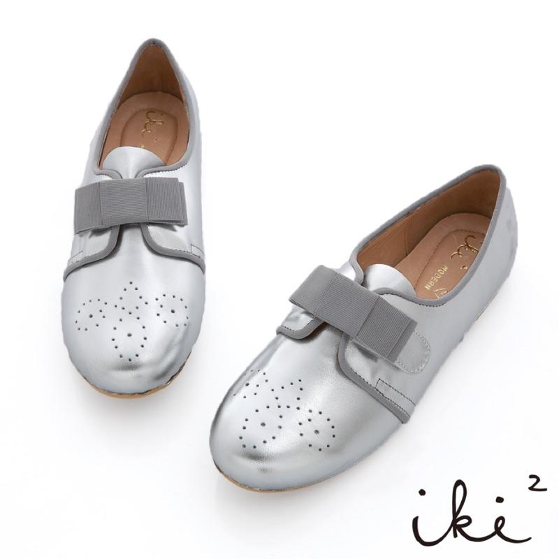 iki2 甜娃娃羊皮蝴蝶結24 5 號平底鞋娃娃鞋牛津鞋休閒鞋銀色