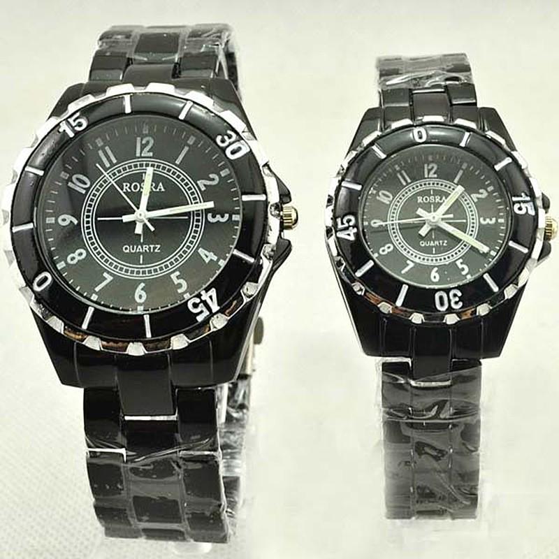 男女全鋼石英手錶情侶圓形錶盤數字腕錶