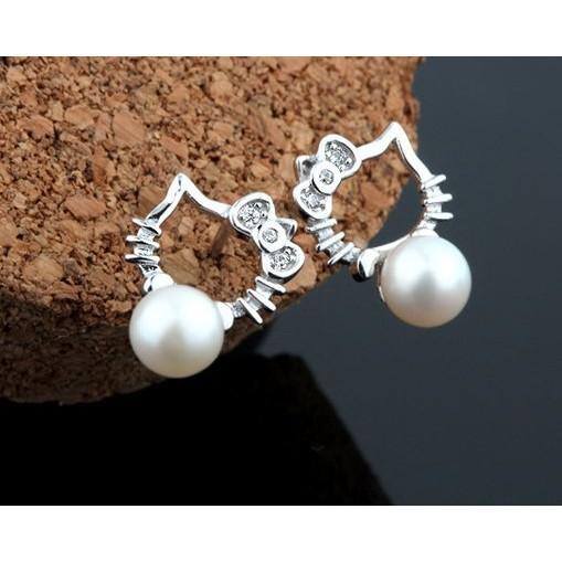 銀飾品925 純銀耳釘KT 貓咪天然淡水珍珠耳釘耳環