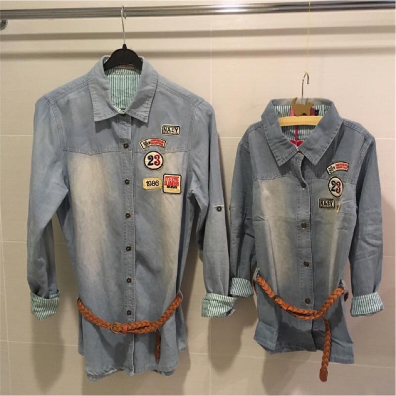 ~ ~ 純棉刷色銅釦復古牛仔上衣親子裝情侶裝送皮帶情侶衣