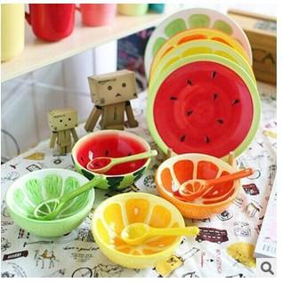 森林系日式ZAKKA 雜貨 手繪彩釉水果西瓜檸檬橘子 立體碗南法鄉村烹飪甜點碗盤沙拉湯碗+