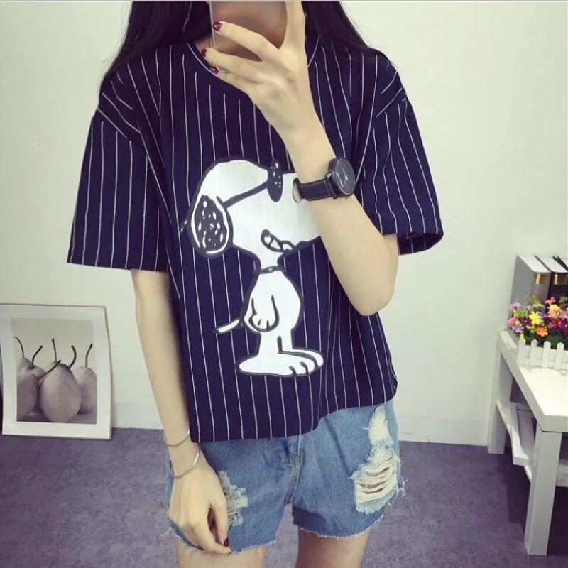 2016 夏裝 純棉修身短袖t 恤學生半袖打底條紋大碼寬鬆女裝上衣