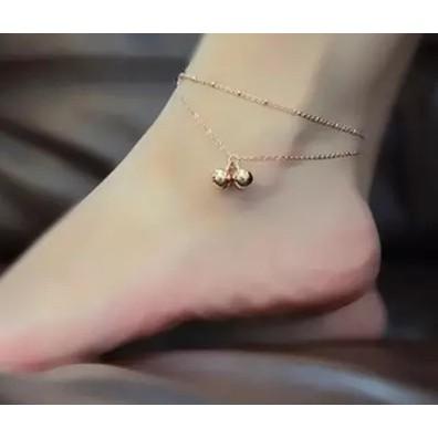 小魚兒鈴鐺雙層鈦鋼鍍18K 玫瑰金彩金腳鏈女 飾品