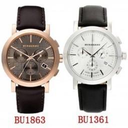 BURBERRY 巴寶莉手錶正品附發票三眼計時腕錶英倫六針男錶BBU1863 BU1361