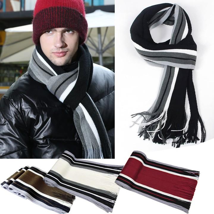 男款圍巾人造羊毛圍巾流蘇羊絨長款條紋圍巾