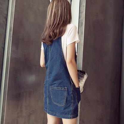 洋裝背心連身牛仔裙裙子 版寬鬆顯瘦口袋單寧背帶裙短~YF21608 ~