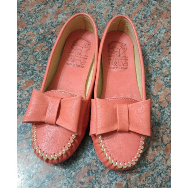 橘紅大蝴蝶結平底鞋懶人鞋娃娃鞋