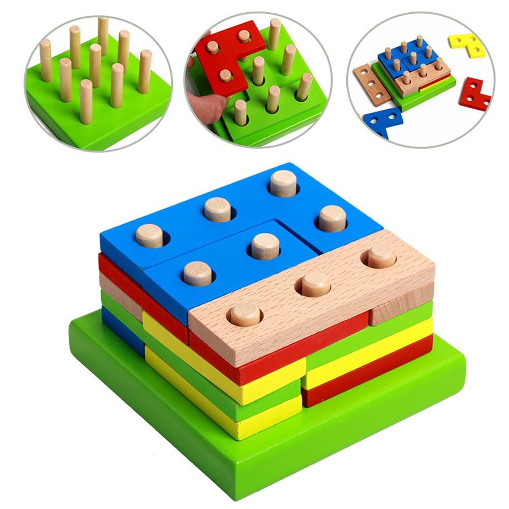 宝宝必备木制拼裝幾何形狀積木益智力玩具智力幾何拼裝積木