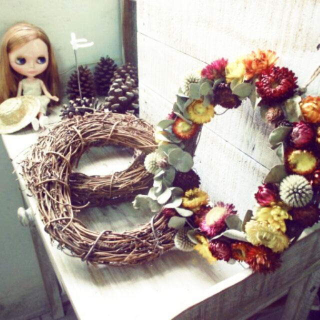 裝飾花圈藤圈葡萄藤DIY 聖誕花環乾燥花圈