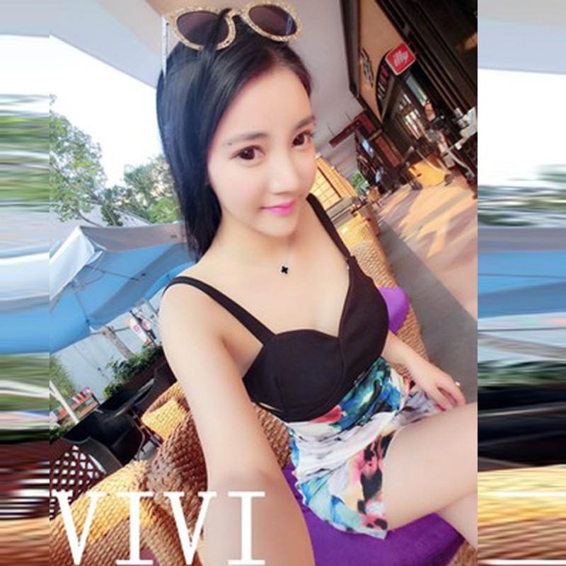 ❤韓風chic ❤ 性感洋裝春吊帶低胸V 領露背鏤空修身顯瘦包身高腰印花無袖連衣裙性感連身