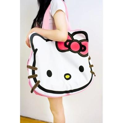 Kitty 大容量旅行包凱蒂貓帆布包單肩包手提包