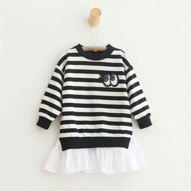 黑白條紋 長袖小洋裝女童 亮片眼睛假兩件荷葉邊長袖衛衣連身裙洋裝 潮流